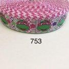"5 yard - 1"" Girl Ninja Turtle wearing Pink Bow with Polka Dot and Striped Motif Grosgrain Ribbon"