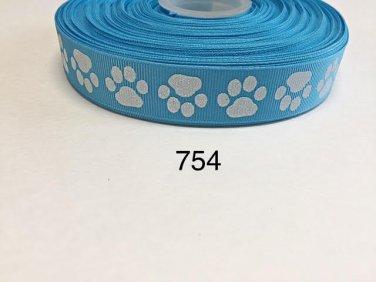 """5 yard - 7/8"""" Glitter Dog Paw on Blue Grosgrain Ribbon"""