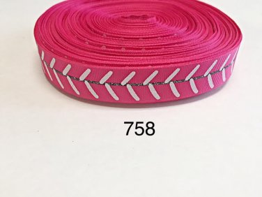 "5 yard - 7/8"" Glitter Sport Baseball on Hot Pink Grosgrain Ribbon"