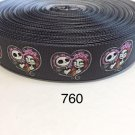 "5 yard - 7/8"" Nightmare Before Christmas Jack Skull with Heart Motif on Black Grosgrain Ribbon"