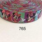 "5 yard - 1"" Pretty Minnie Mouse with Multi Color Striped Grosgrain Ribbon"