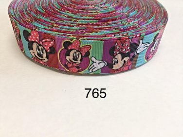 "5 yard - 1"" Pretty Minnie Mouse with Multi Color Striped Grosgrain Ribbon"