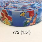 "5 yard - 1.5"" Princess Ariel with Flounder The Fish Under The Sea (no 2) on Blue Grosgrain Ribbon"