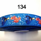 "5 yard - 7/8"" Finding Nemo The Clown Fish and Dory With Bubble Blue Grosgrain Ribbon"