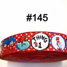 "5 yard - 7/8"" Cat In The Hat with Thing 1 and Thing 2 white Polka Dot Red Grosgrain Ribbon"