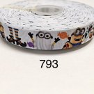 "5 yard - 7/8"" Halloween Minions in Costume on White Grosgrain Ribbon"