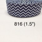 "5 yard - 1.5"" Royal Blue and White Zig Zag Grosgrain Ribbon"