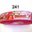 "5 yard - 7/8"" Sweet Strawberry Shortcake Pink and White Stripe Grosgrain"
