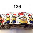 "5 yard - 7/8"" Christmas Minion wearing Santa Hat Inspired Grosgrain Ribbon"