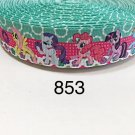 "5 yard - 1"" My Little Pony and Friends with Flower and Polka Dot Motif Grosgrain Ribbon"