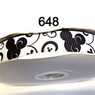 "5 yard - 7/8"" Black Mickey Mouse with Black Swirl on White Grosgrain Ribbon"