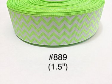 "5 yard - 1.5"" Neon Green and White Zig Zag Grosgrain Ribbon"
