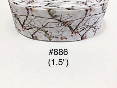 "5 yard - 1.5"" Tree Branch Nature on White Grosgrain Ribbon"