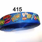 "5 yard - 1"" Super Hero Pow Bang Zap Blue Grosgrain Ribbon"
