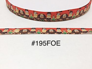 "5 yard - 5/8"" Thanksgiving Minion and Friend on Orange Fold Over Elastic"