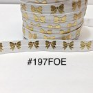 """5 yard - 5/8"""" Gold Gold Bow on White Fold Over Elastic"""