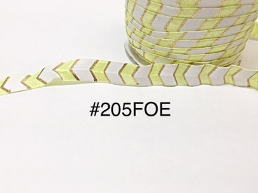 "5 yard - 5/8"" Gold, Yellow and White Fold Over Elastic"