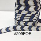 "5 yard - 5/8"" Gold, Royal Blue and White Fold Over Elastic"
