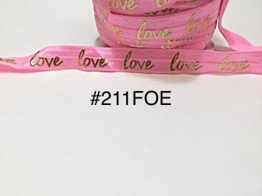 "5 yard - 5/8"" Valentine Gold Love on Pink Fold Over Elastic"