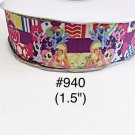 "5 yard - 1.5"" My Little Pony and Friends Striped, Zig Zag and Polka Dot Motif Grosgrain Ribbon"