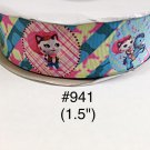 "5 yard - 1.5"" Sheriff Callie and Horse with Star Motif Grosgrain Ribbon"
