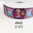"5 yard - 1.5"" Frozen Princess Elsa and Anna with Zig Zag Motif Grosgrain Ribbon"