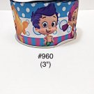 "5 yard - 3"" Bubble Guppies with Striped and Polka Dot Motif Grosgrain Ribbon"