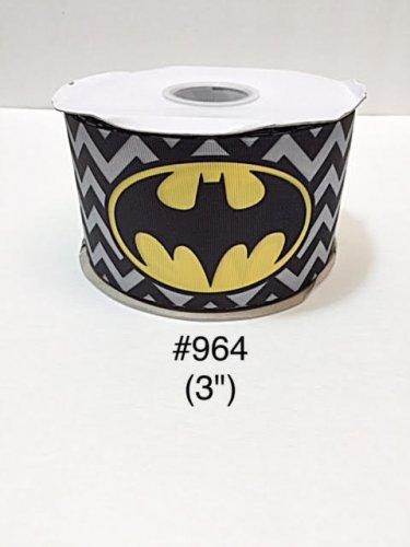 """5 yard - 3"""" Super Hero Bat Man on Black & Gray Zig Zag Grosgrain Ribbon"""