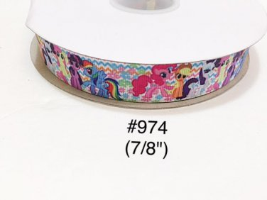 """5 yard - 7/8"""" My Little Pony and Friends Zig Zag and Flower Grosgrain Ribbon"""
