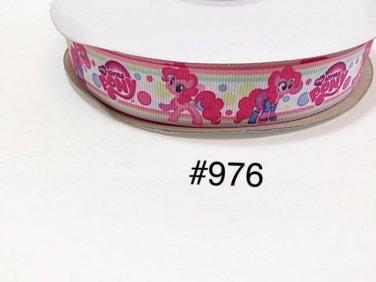 "5 yd - 7/8"" My Little Pony Pinkie Pie Polka Dot on White Grosgrain Ribbon"