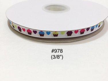 "5 yard - 3/8"" Cupcake and Heart on White Grosgrain Ribbon"