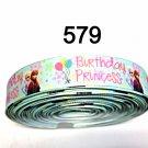 "5 yard - 1"" Frozen Princess Anna and Elsa Happy Birthday on Light Green Grosgrain Ribbon"