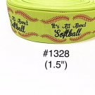 "5 yard - 1.5"" Sport "" It's All About Softball"" with Red Lace Motif Grosgrain Ribbon"
