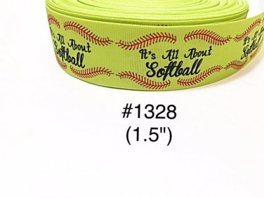 """5 yard - 1.5"""" Sport """" It's All About Softball"""" with Red Lace Motif Grosgrain Ribbon"""