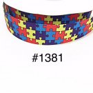 "5 yard -  1"" Autism Awareness Puzzle Motif Grosgrain Ribbon"