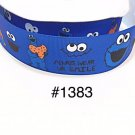 "5 yard -  1"" Cookie Monster ""Always Wear UR Smile"" Blue Grosgrain Ribbon"