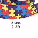 "5 yard - 1.5"" Autism Awareness Puzzle Motif Grosgrain Ribbon"