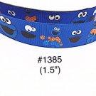 """5 yard - 1.5"""" Cookie Monster """"Always Wear ur Smile"""" Blue Grosgrain Ribbon"""