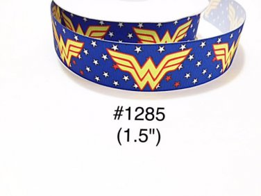 "5 yard - 1.5"" Super Hero Wonder Woman Star Motif on Blue Grosgrain Ribbon"