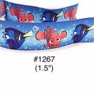 "5 yard - 1.5"" Finding Nemo and Dory Fish Bubble Blue Grosgrain Ribbon"