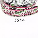 "5 yard - 1"" Christmas Santa Diva with Zebra Motif Grosgrain Ribbon"