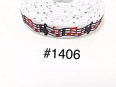 "5 yard - 7/8"" Music Red and Black Musical Note on White Grosgrain Ribbon"