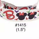 "5 yard - 1.5"" Halloween Minnie Mouse Boo with Bat White Grosgrain Ribbon"