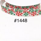 "5 yard - 7/8"" Christmas Mickey Mouse Peppermint on White Zig Zag Grosgrain Ribbon"