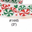 "5 yard - 3"" Christmas Mickey Mouse Peppermint Jumbo White Grosgrain Ribbon"