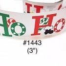 """5 yard - 3"""" Christmas Santa Ho Ho Ho Jumbo White Grosgrain Ribbon"""