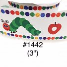 "5 yard - 3"" Hungry Caterpillar and Apple Jumbo White Grosgrain Ribbon"