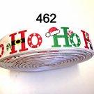 "5 yard - 7/8"" Christmas Ho Ho w/ Candy Cane, Santa Hat & Boot White Grosgrain Ribbon"