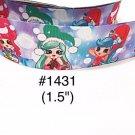 "5 yard - 1.5"" Christmas Shoppie and Friends wearing Santa Hat Grosgrain Ribbon"