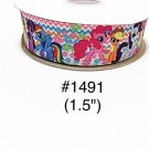 "5 yard - 1.5"" My Little Pony Zig Zag and Flower Motif on White Grosgrain Ribbon"